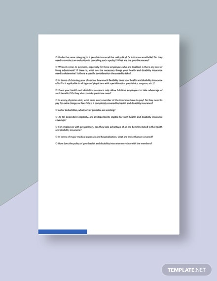 Health And Disability Insurance Checklist Template