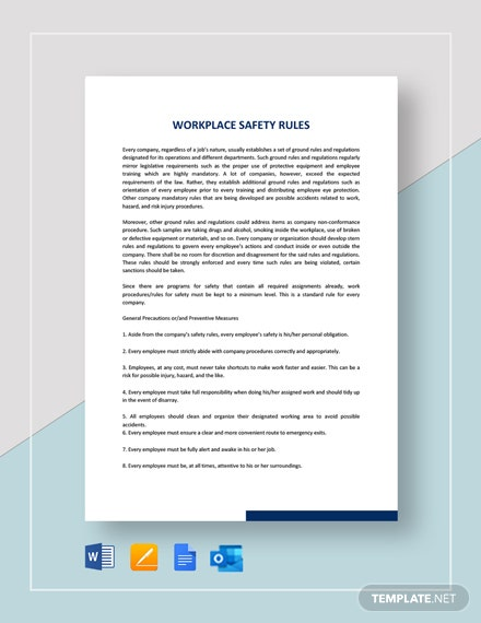 Workplace Safety Rules Template
