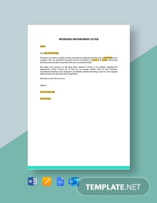 Interview Appointment Letter Template