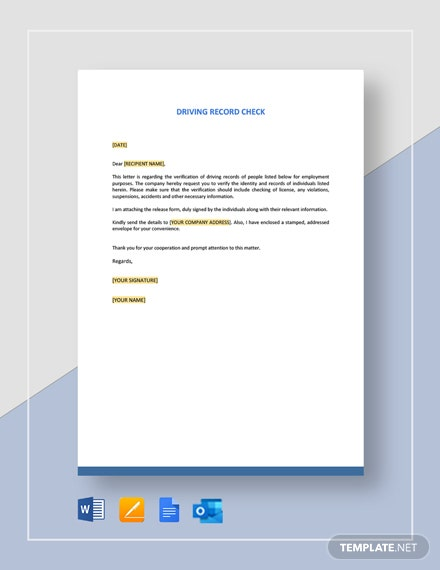 Driving Record Check Letter Template