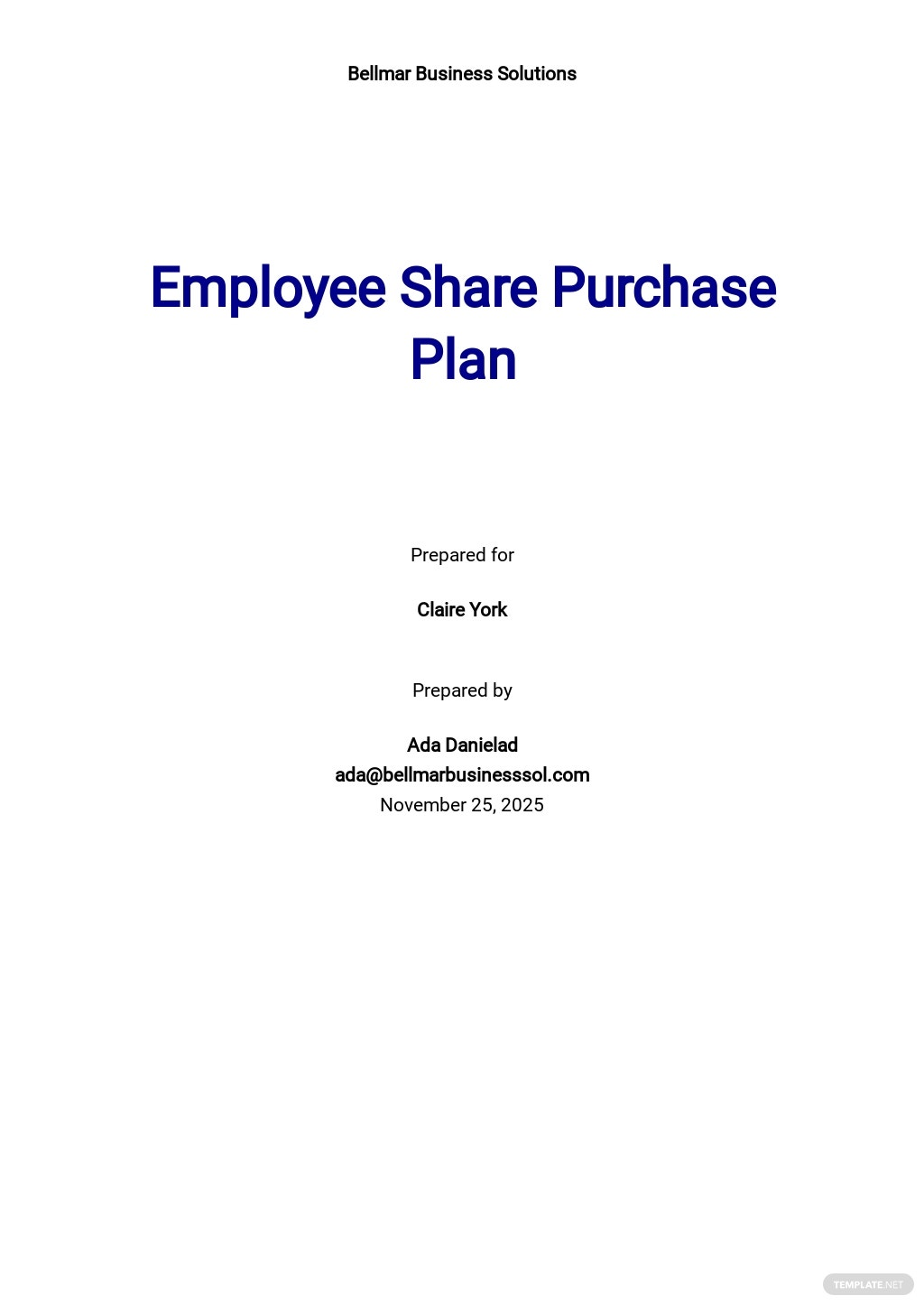 Employee Share Purchase Plan Template