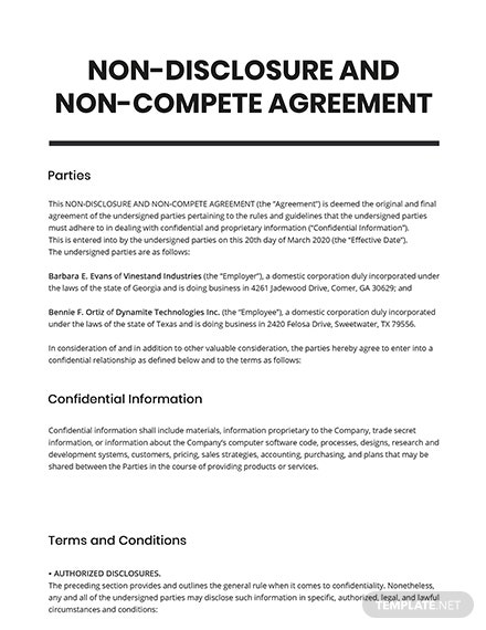 Non-Disclosure And Non-Compete Agreement Template