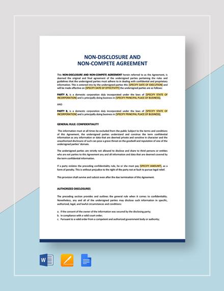 Non-Disclosure And Non-Compete Agreement Template