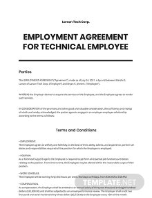 Employment Agreement For Technical Employee Template