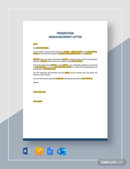 Promotion Announcement Letter Template
