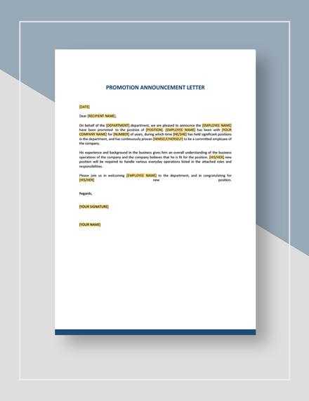 Promotion Announcement Letter Instructions