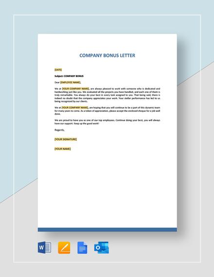 Company Bonus Letter Template