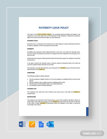 Paternity Leave Policy Template