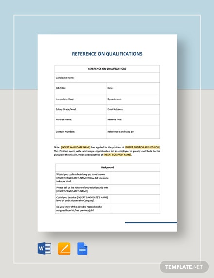 Reference On Qualifications Template