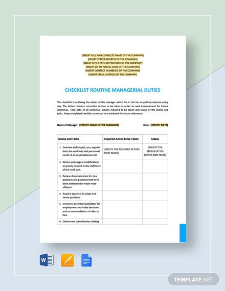 Checklist Routine Managerial Duties Template