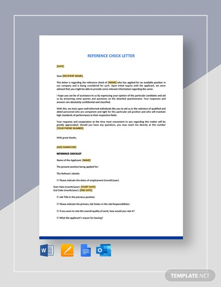 Reference Check Letter