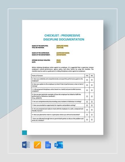 Checklist Progressive Discipline Documentation Template