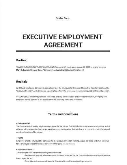 Executive Employment Agreement Template