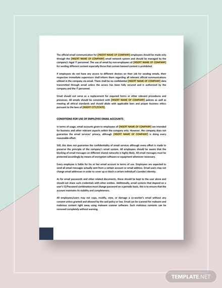 Employee Email Policies Template