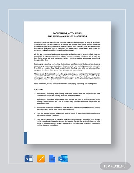 Bookkeeping, Accounting And Auditing Clerk Job Description Template