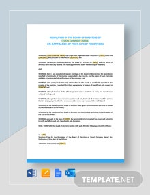 Shareholders Resolution Ratifying Prior Acts Of Officers Template