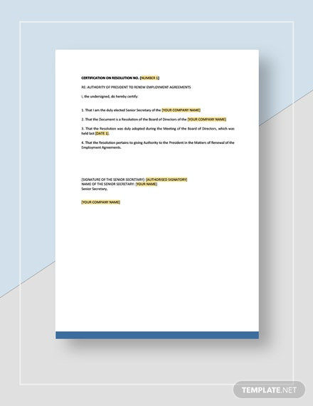 Board Resolution Authorizing The President To Renew Employment Agreement Template