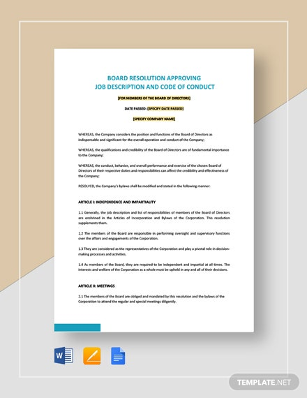 Board Resolution Approving Job Description & Code Of Conduct Template