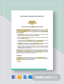 Board Resolution Approving Financial Statements Template