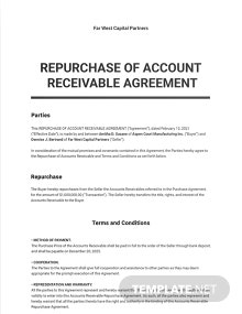 Repurchase Of Accounts Receivable Agreement Template