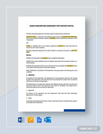 Share Subscription Agreement For Venture Capital Template