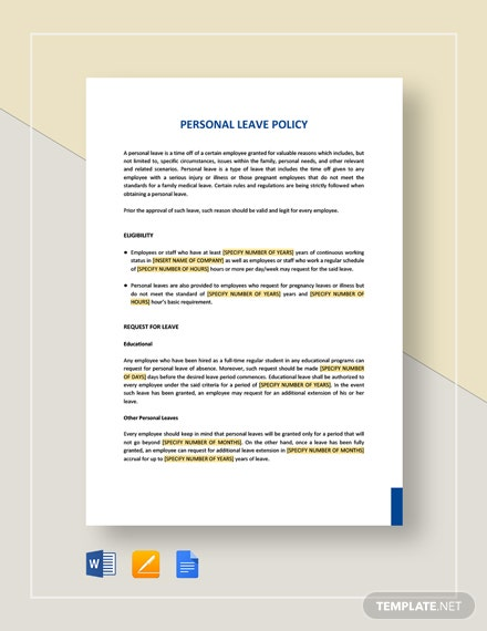 Personal Leave Policy Template