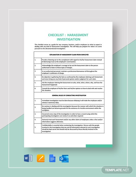 Checklist Harassment Investigation Template