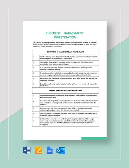 Checklist Harassment Investigation Template