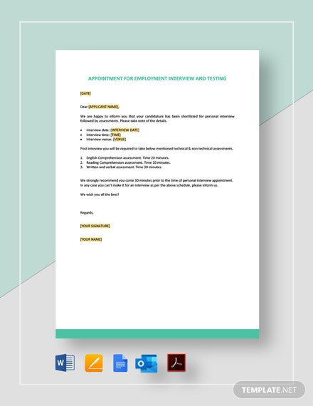 Appointment For Employment Interview And Testing Template