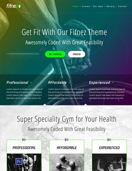 Free Gym PSD Website Template