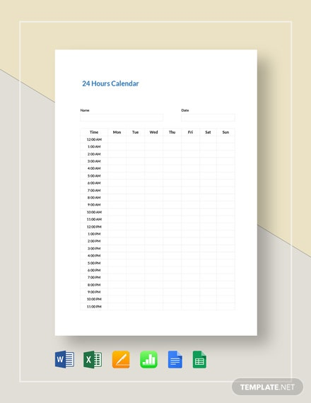 hours calendar