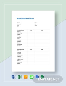 Basketball Schedule Template