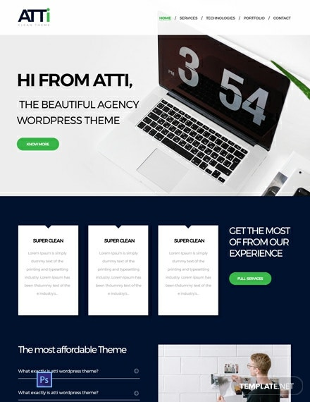 Free Corporate Agency PSD Website Template