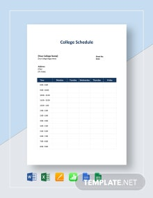 College Schedule Template