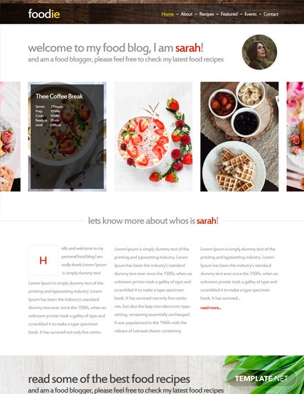 Free Foodie Photoshop Website Template