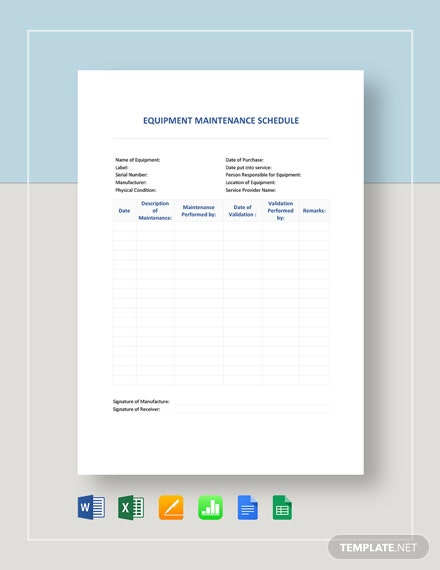 Equipment Maintenance Schedule Template [Free Google Docs] - Google Sheets, Excel, Word, Apple Numbers, Apple Pages