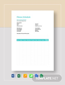 Fitness Schedule Template