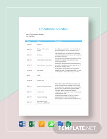 Orientation Schedule Template
