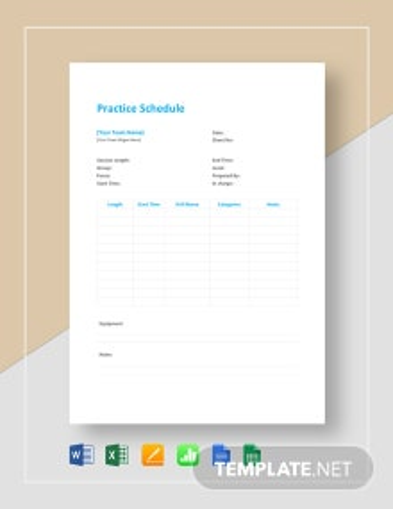 Practice Schedule Template