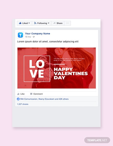 Free Valentines Day Facebook Post Template