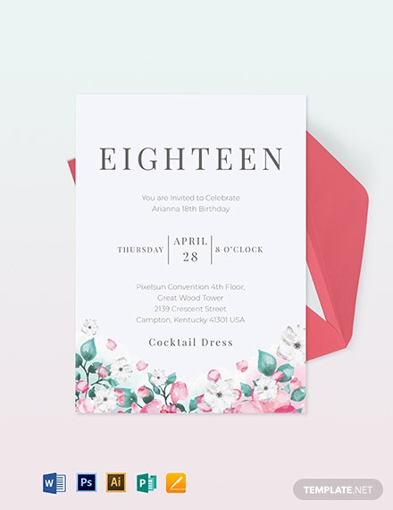 18th birthday invitation card template 1