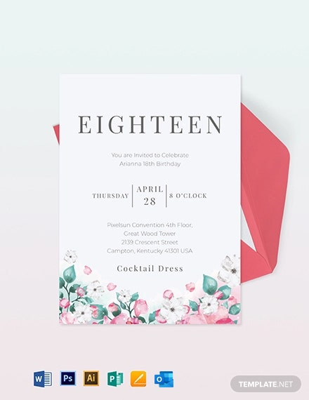 th Birthday Invitation Card Template