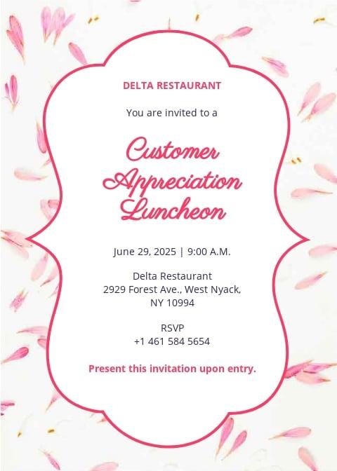 Appreciation Luncheon Invitation Template