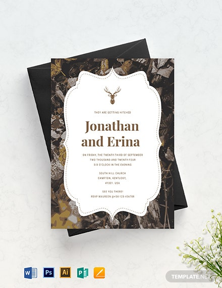 camo wedding invitation template 2