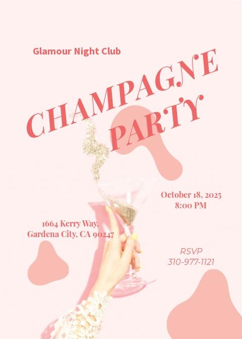 Champagne Party Invitation Template