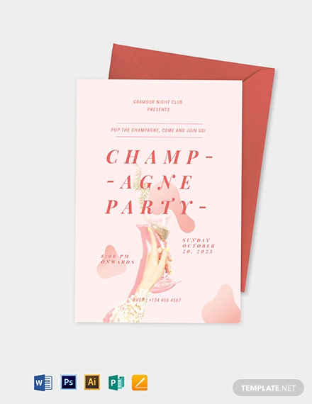 Champagne Party Invitation Template