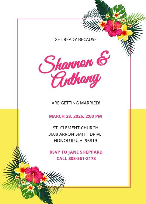 Destination Wedding Invitation Template