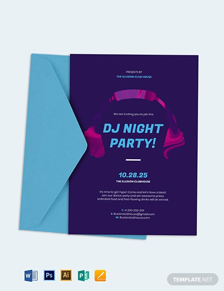 dj party invitation template 1