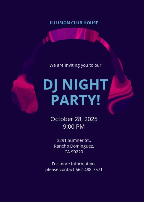 DJ Party Invitation Template