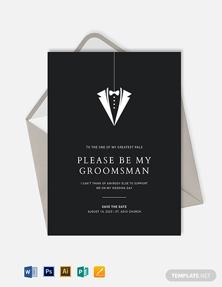Groomsmen Invitation Card Template